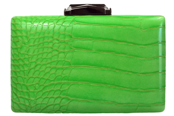 Neon green snakeskin clutch