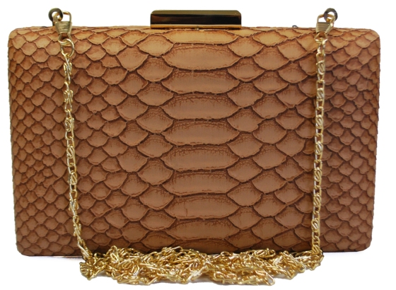 Brown Snakeskin Pattern Hard Box Clutch
