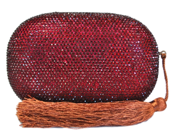 Wine Red Crystal Oval Clutch Purse