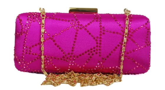 Fuchsia Pink Hard Box Clutch