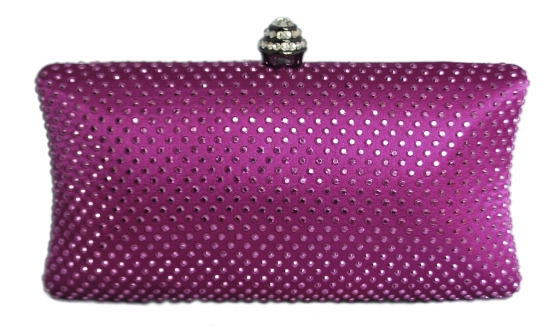 Purple Rhinestone Crystal Clutch Purse