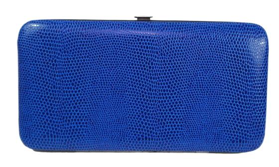 Blue Snakeskin Pattern Hard Wallet