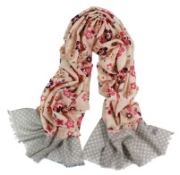 Multi Color Floral Print Wool Pashmina Scarf Shawl Wrap