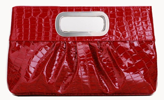 Red Faux Patent Leather Clutch Bag