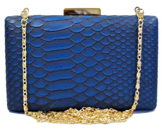 Blue Snakeskin Pattern Clutch Purse