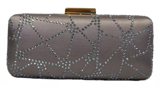 Rhinestone Satin Hard Box Wedding Clutch Stone Grey