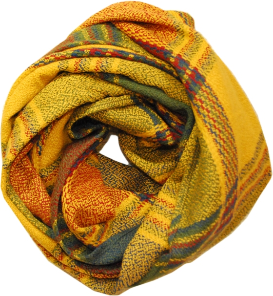 Yellow Plaid Oblong Scarf