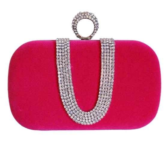 Pink Suede Rhinestone One Ring Knuckle Duster Bag