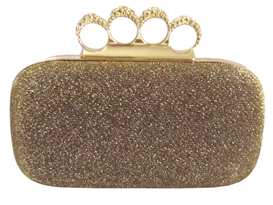 Gold Glitter Rhinestone Duster Knuckle Clutch Bag