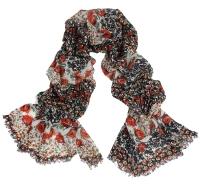 Black & Orange Floral Rose Print 100% Wool Pashmina Scarf Shawl Wrap