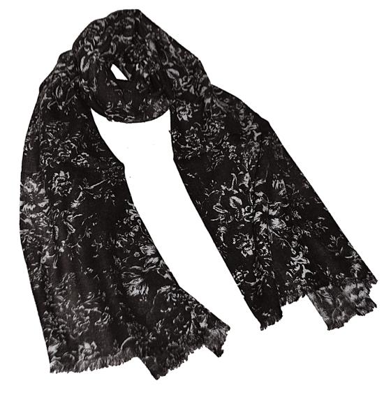 Black Floral Wool Pashmina Scarf