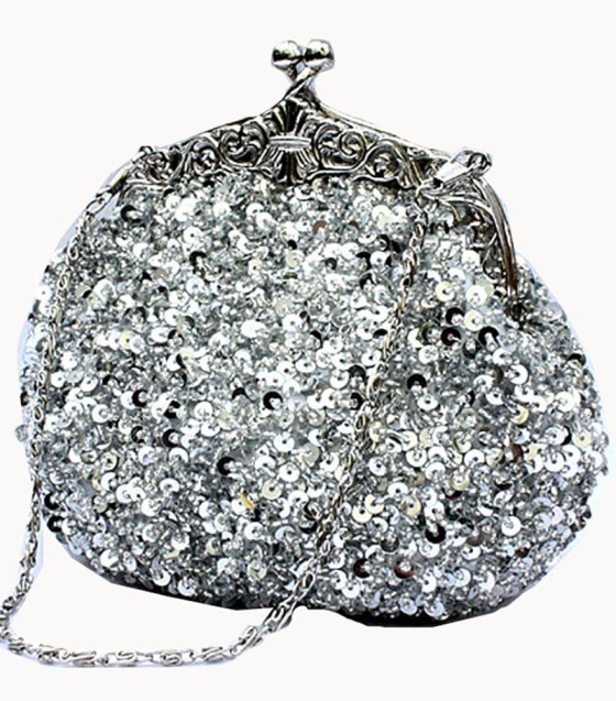Silver Sequin Clutch Purse