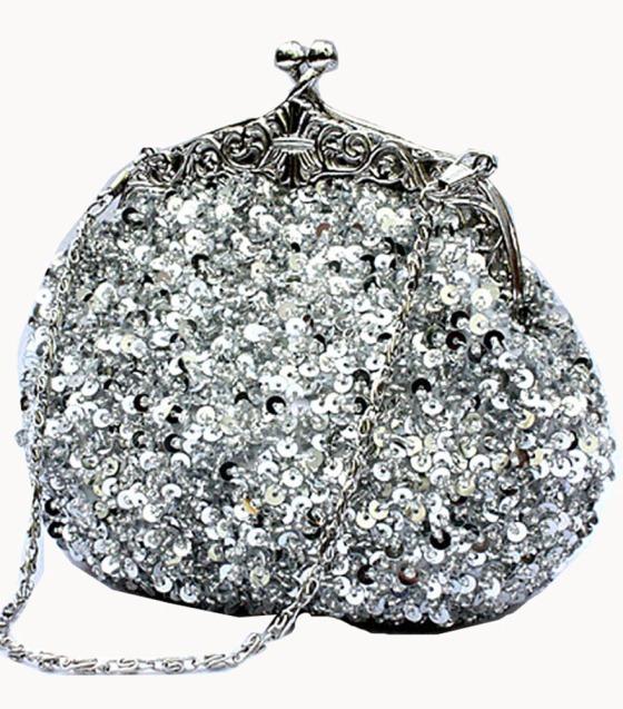 Silver Sequin Clutch Purse