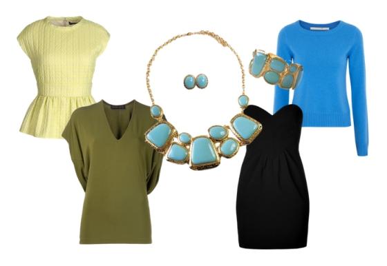 Turquoise Mint Stone Statement Jewelry Set