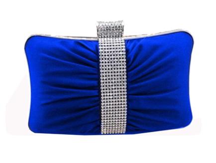 Royal Blue Satin Hard Clutch