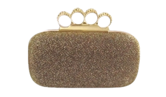 Gold Glitter Duster Knuckle Clutch