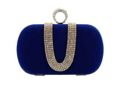 Royal Blue Suede One Ring Clutch