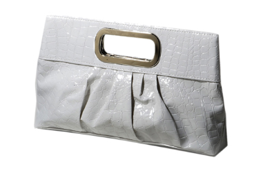 White Glossy Faux Leather Clutch