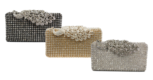 Crystal Stud Peacock Motif Hard Box Clutch