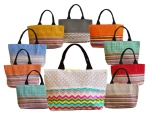 Multi Color Striped Canvas & Crochet Lace Tote Handbag