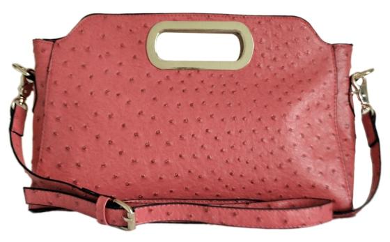 Pink Ostrich Clutch Bag