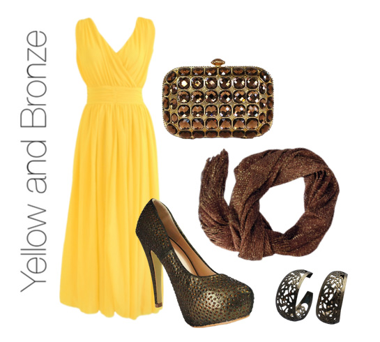 Yellow Dress and Bronze Accessories