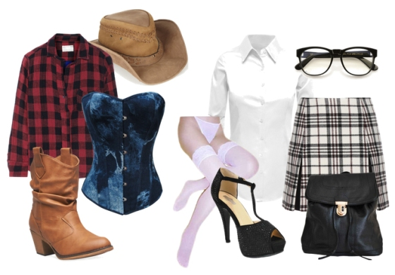 Cowgirl and Schoolgirl Costumes