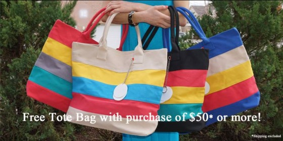 Multi Color Striped Tote Bag