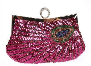 pink peacock purse