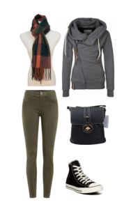 Going shopping into the night? Try a casual night out look. Olive color pants with a grey jacket is stylish for both the day and night.