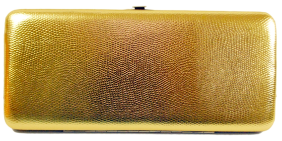 Gold Snake Skin Faux Patent Leather Wallet