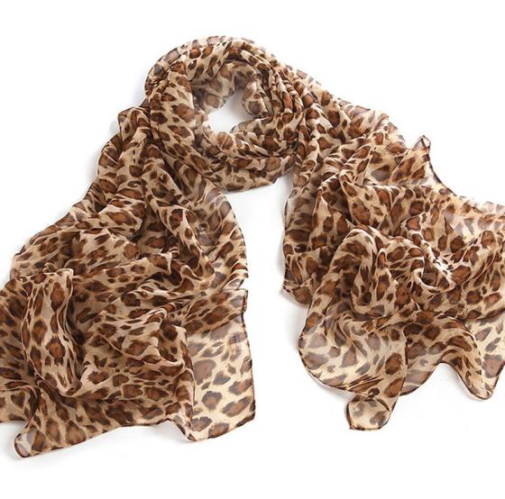 Leopard Animal Print Silk Chiffon Scarf