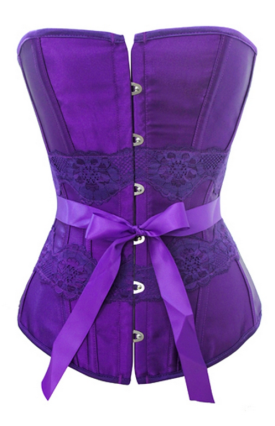 Sexy Purple Satin and Floral Corset
