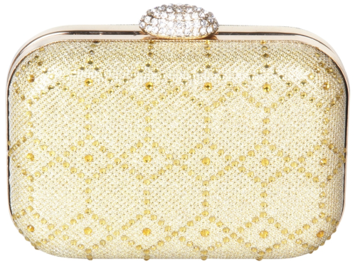 Glitter Hard Box Clutch With Rhinestones