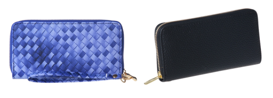Plain and Patterned Zip Around Clutch Wallet