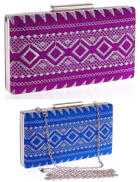Tribal Embroidery Hard Box Clutch