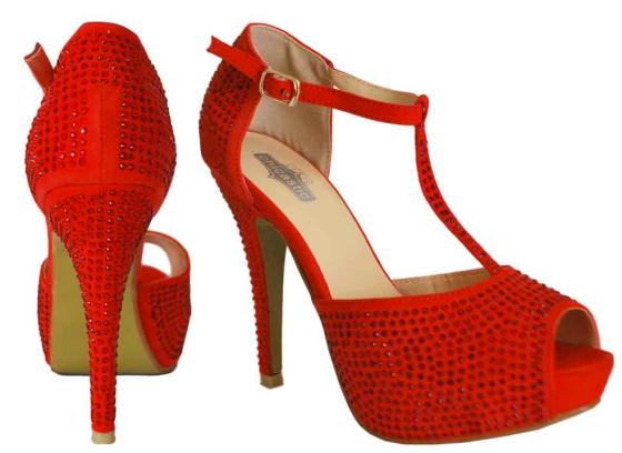 Velvet Rhinestone Embellished T-Strap Peep Toe High Heels
