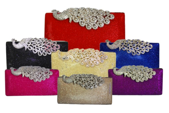 Mesh Rhinestone Peacock Cocktail Clutch