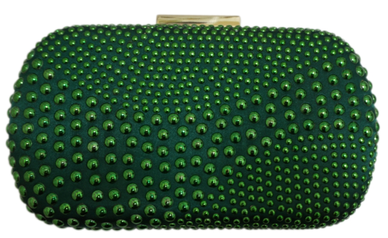 Green Sequin Crystal Hard Box Clutch