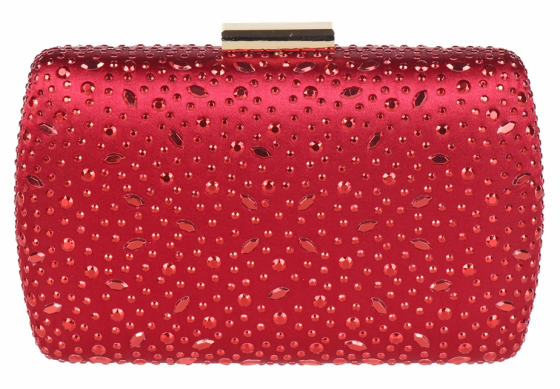 Red Sequin Crystal Hard Box Clutch