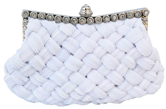 White Braided Rhinestone Stud Wedding Clutch Bag