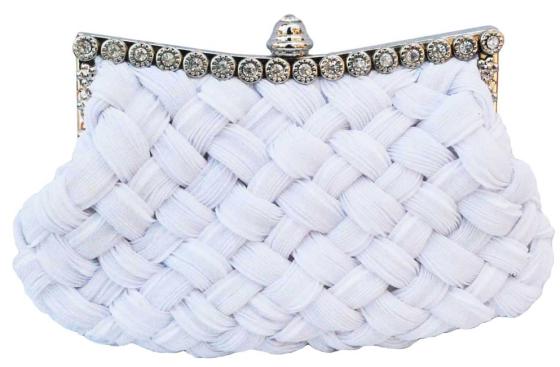 White Braided Rhinestone Stud Wedding Clutch Bag
