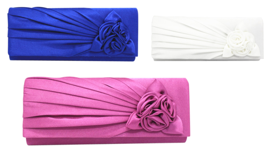 Evening Bridal Clutch with Satin Flowers