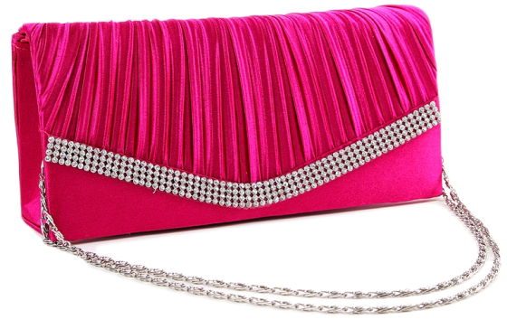 Fuchsia Pink Pleated Satin Wedding Clutch