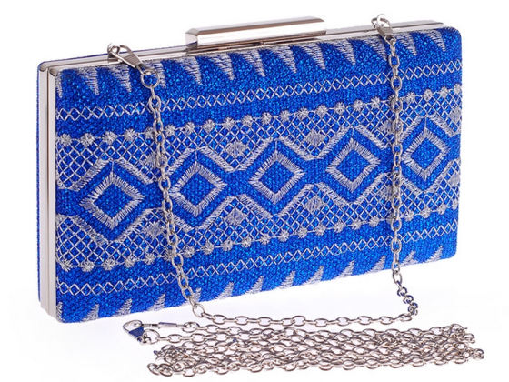 Royal Blue Tribal Embroidery Hard Box Clutch