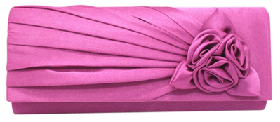 Satin Evening Clutch with Flowers