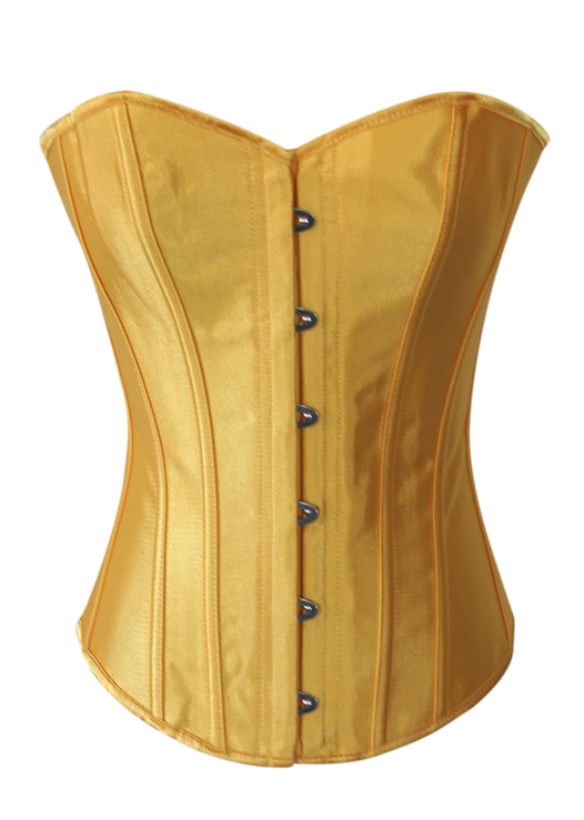 Yellow Satin Sexy Corset Lace Up Bustier Top
