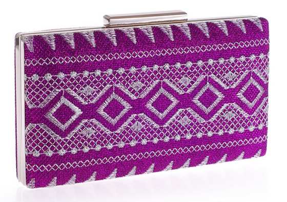 Purple Tribal Embroidery Hard Box Purse