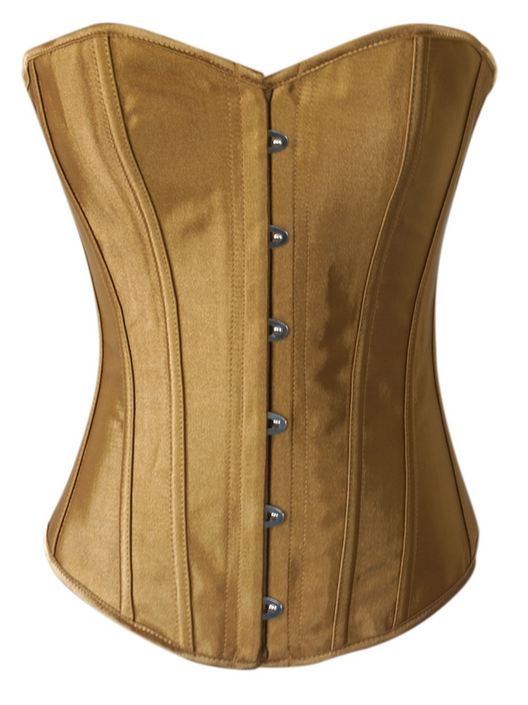 Sexy Gold Satin Strong Boned Corset